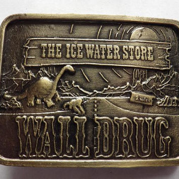 Wall Drug The Ice Water Store South Dakota Brass Belt Buckle Vintage
