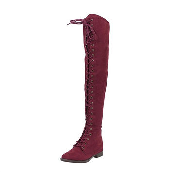FINAL SALE - Over The Knee Lace Up Boots - Burgundy