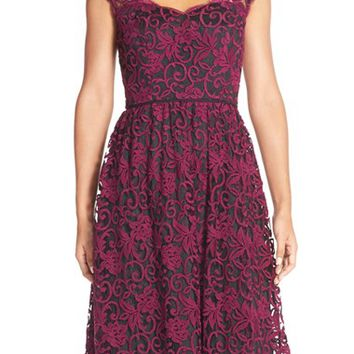 Women's Adrianna Papell Illusion Lace Fit & Flare Dress,