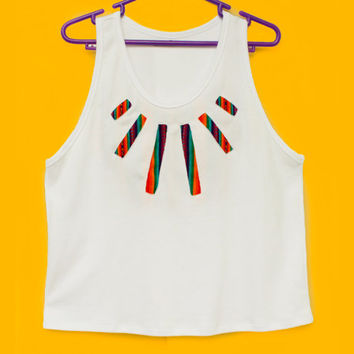 Tribal Top, Women Tank, Rainbow Stars Top in Peruvian fabric, Peruvian textile, Women's Tshirts, Women's Tops, Tank Top, Stars T shirt