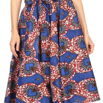 Sakkas Adisa Ankara African Wax Print Culotte Pants Colorful with Elastic Waist