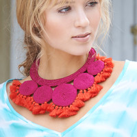 Hamimi Crochet Tassel Necklace in Fuchsia