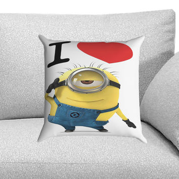 I Love Minions Custom Pillow Case for One Side and Two Side