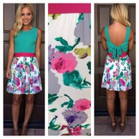 April Showers May Flowers Dress - FUSCHIA