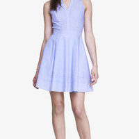 POPLIN FIT AND FLARE SHIRT DRESS - BLUE from EXPRESS