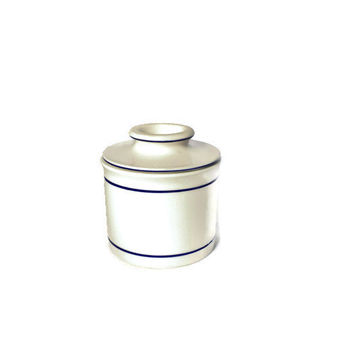 French Butter Keeper - White and Blue French Butter Dish - Ceramic Butter Keeper - Ceramic Butter Dish