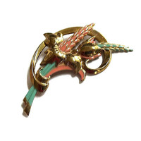 Art Deco Green & Orange Enamel Wheat Flower Brooch Vintage