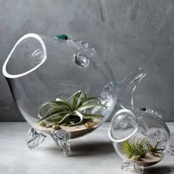 Thalassic Fish Vase by Anthropologie Clear