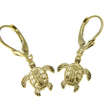 12MM 14K YELLOW GOLD SPARKLY DIAMOND CUT HAWAIIAN SEA TURTLE EARRINGS LEVERBACKS
