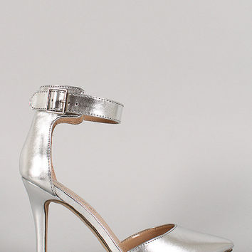 Breckelle Metallic Ankle Strap Buckle Pointy Toe Pump