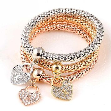 3Piece Gold Color Love Bracelets