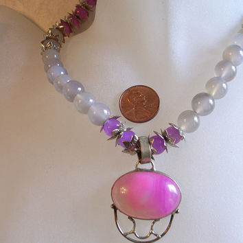 Pink Parchment Gemstone Necklace In Purple, Pink and Gray/Grey With Sterling Silver Lace Agate Pendant And Real Jade