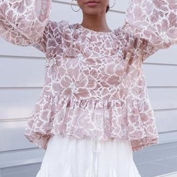 At Sundown Blush Pink Floral Lace Long Bell Sleeve Tassel Tie Scoop Neck Ruffle Hem Blouse Top