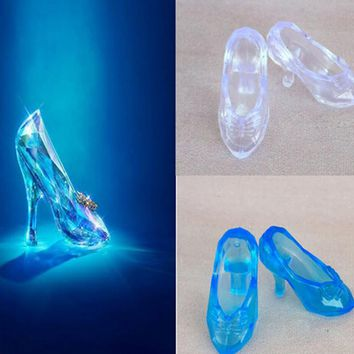 1 Pair Imitation Fairy Tale Crystal Shoes For CINDERELLA Fashion Doll Shoes High Heels Sandals For Barbie Dolls Baby Toy