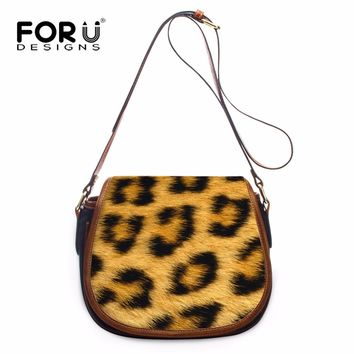 FORUDESIGNS 3D Animal Fur Prints Woman Small Shoulder Bags Fashion Girls PU Leather Cross Body Bags Messenger Bags for Ladies