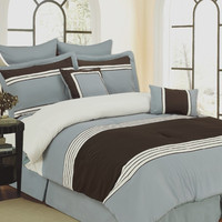 12pc Queen Wly Blue Bed Set