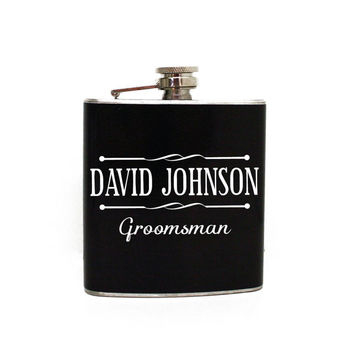 Men's Flask Design - Groomsman Gift Personalized Flask, Wedding Party Gifts, Best Man Thank You, Wedding Favor Ideas, Gift for Him