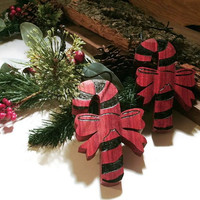 Candy Cane Ornaments -  Wood Set of two - Ready to ship