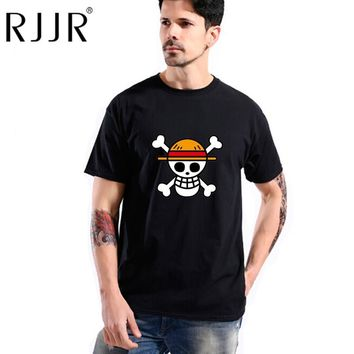 RJJR one piece T shirt men 100% cotton 2017 Fashion Japanese Anime Clothing White Luffy  T-shirt Brand Camiseta