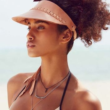 LEATHER Visor Cap / Beach Hat / Beach Accessories / Womenswear / Summer Sun / Hat Accessory / Tan Leather / Visors For Women