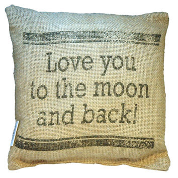 "Small Burlap ""Love You to the Moon and Back"" 8"" x 8"" Throw Pillow"