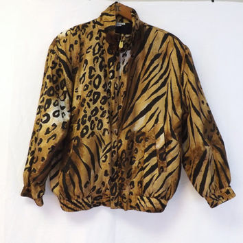 Vintage Retro 1980s 90s Oversized Black and Tan Cheetah Print Tiger Print Fuda Fall Silk Seersucker Jacket Wind Breaker Blazer Hipster Coat