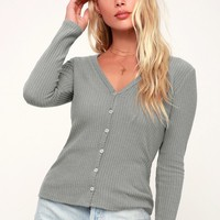 Dreams of You Grey Knit Button-Up Long Sleeve Sweater Top