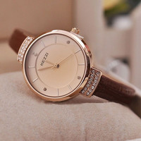 Narrow Band strap simple style Watches Rhinestone women's wristwatch Soft PU Leather = 1956504068