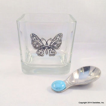 Glass container, candy jar, votive holder, costume pin, makeup brush holder, potpourri holder, gifts under 20 dollars, butterfly