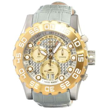 Invicta 12484 Men's Reserve Excursion Silver Gold Dial Leather Strap Chronograph Dive Watch