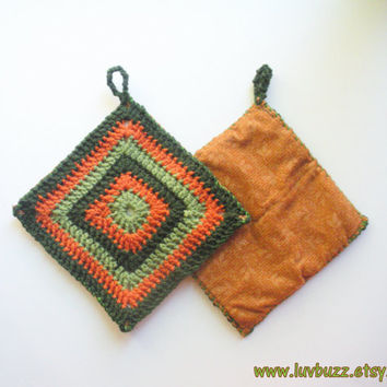 Crochet Trivet in Orange and Green Squares, set of two, granny square hot pads with backing, ready to ship.