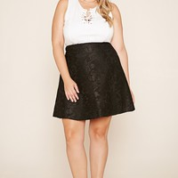 Plus Size Floral Mesh Skirt