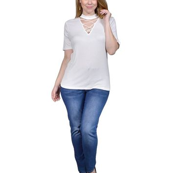 Plus size knit tee featuring a choker neckline, front raw-cutout w/lace up, short sleeves, and a relaxed silhouette