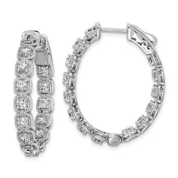 Sterling Silver Rhodium Plated Cz In And Out Oval Hoop Earrings