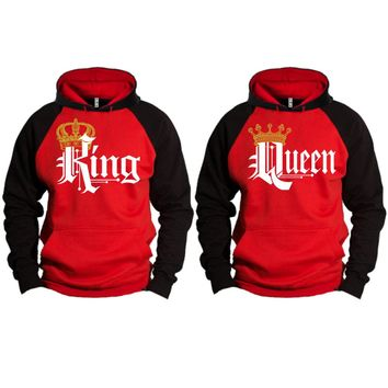 Royal King and Queen Two-tone Red / Black Raglan Hoodie