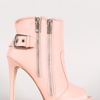 Dollhouse Spy Zip Peep Toe Ankle Bootie