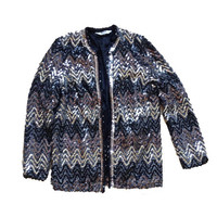 Sequined Ugly Christmas Blazer Jacket - Black and Silver Sequined Blazer Jacket - Glitter - Chevron Pattern Jacket - Montgomery Ward