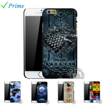For Apple iPhone 6 6S 5 SE 5S 5C 4 4S The Game of Thrones Case House Stark Jon Snow White Ghost Wolf Symbol Flag