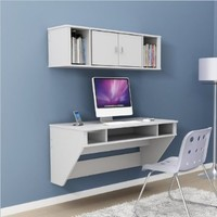 Prepac Designer Floating Desk with Hutch in Fresh White Finish