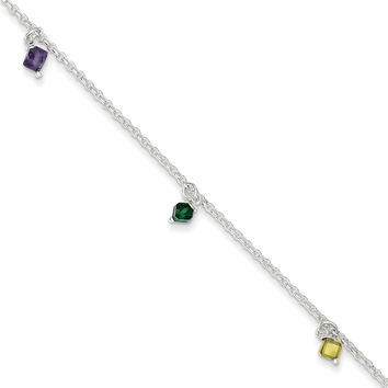 925 Sterling Silver Wire Set Briolette Green, Yellow and Purple Crystal Anklet Ankle Bracelet