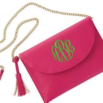 Monogram White Tassel Clutch Crossbody Purse Font Shown NATURAL CIRCLE in Pool