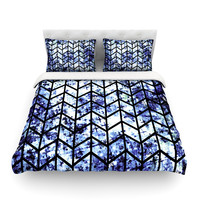 "Ebi Emporium ""Chevron Wonderland II"" Blue Black Cotton Duvet Cover"