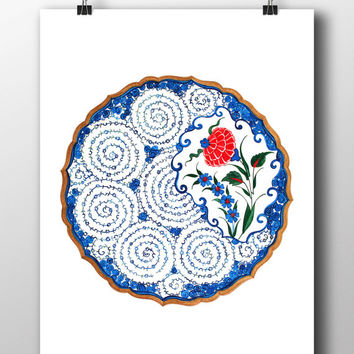 Red Carnation Watercolor Art Print Iznik Tile Digital Print Traditional Modern Wall Art Wall Decor Wall Hanging