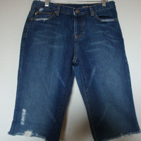 J CREW JEANS frayed raw hem women distressed denim Bermuda knee length shorts Size 29 cut offs Buttonfly