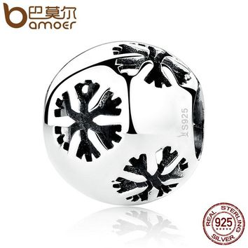 Popular 925 Sterling Silver Snowflake Bead Charms fit Bracelets & Necklaces Fine Jewelry SCC070