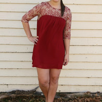 Embroidered and Lace Baby Doll Dress
