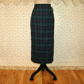 90s Plaid Skirt Blue Green Tartan Straight Pencil Skirt High Waist Skirt Medium Wool Skirt Winter Skirt Womens Skirts Vintage Clothing