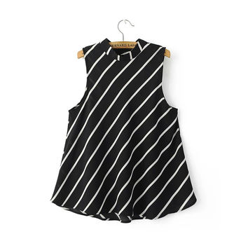 women striped stand collar sleeveless chiffon blouse back buttons summer fashion casual shirts ladies loose tops WT247