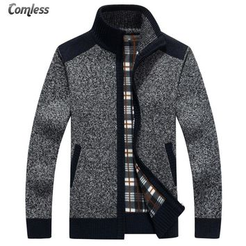 2017 Brand Clothing Fashion Sweater Men's Zipper Cashmere Wool Cardigans Long Sleeve Warm Thick Sweaters Men Coats Big Size XXXL