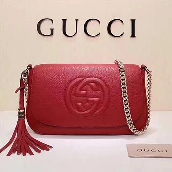 GUCCI WOMEN'S NEW STYLE LEATHER TASSEL CHAIN SHOULDER BAG